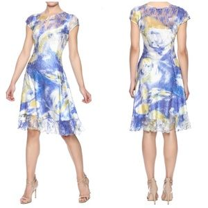 New Komarov Crinkle Midi Blue Yellow Dress P /S